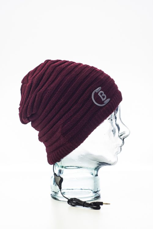 Cozyb - Maroon Knit Beanie Headphone Side View