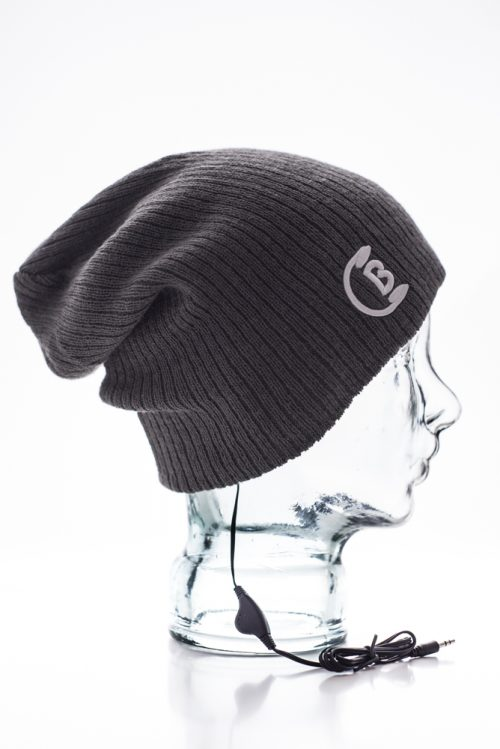 CozyB - Super Soft Grey Beanie Headphone Side View