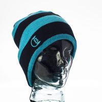 CozyB - Black and Aqua Striped Beanie Headphone Front View