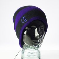 CozyB - Purple Striped Beanie Headphone Front View